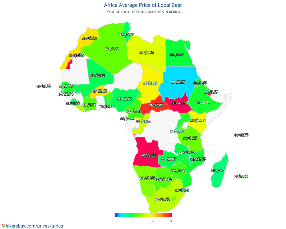 Africa - Average Price of Beer in Africa