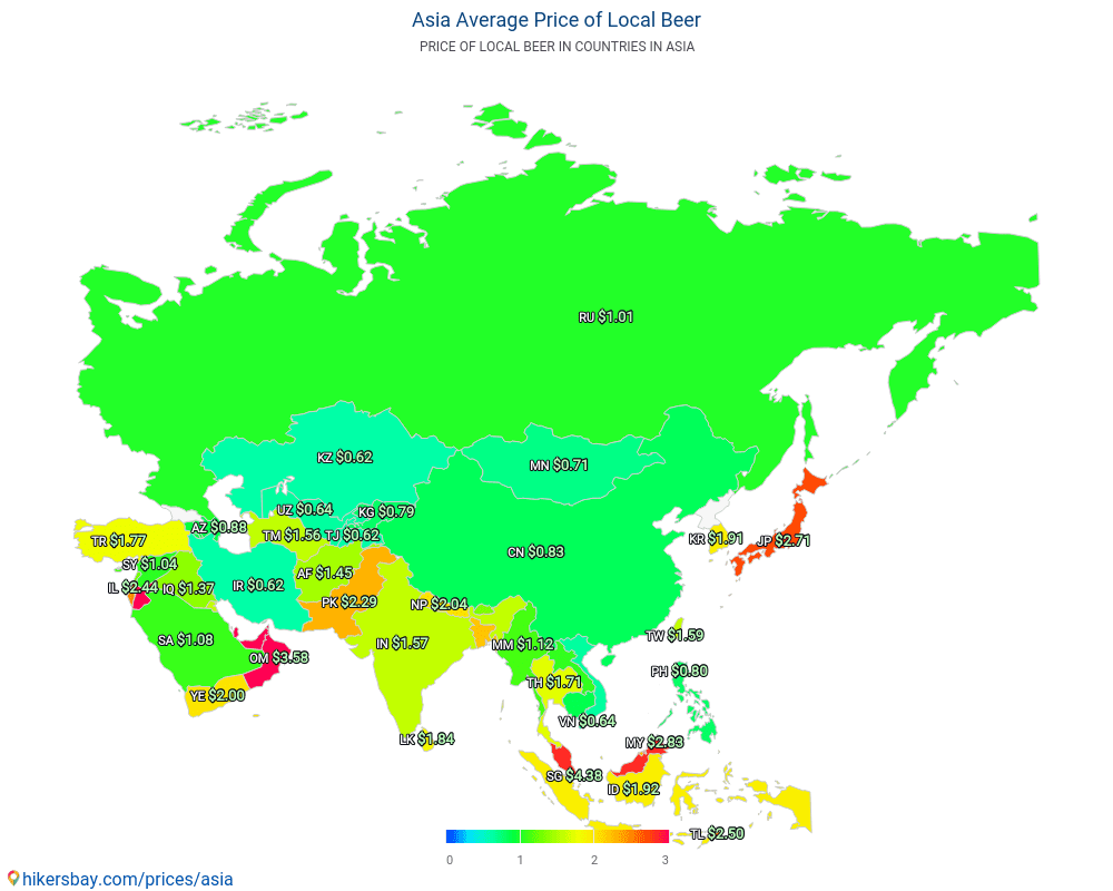 Asia - Average Price of Beer in Asia