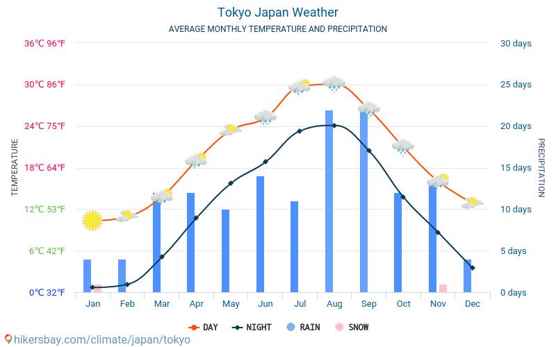 Токио - Средните месечни температури и времето 2015 - 2019 Средната температура в Токио през годините. Средно време в Токио, Япония.