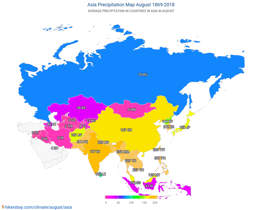 Asia - Average temperature in Asia over the years. Average Weather in August.