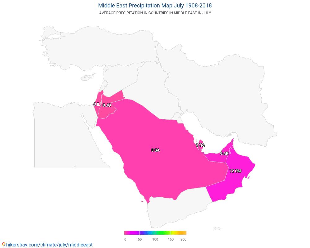 Vidējie Austrumi - Vidējā temperatūra ir Vidējie Austrumi pa gadiem. Vidējais laika Jūlija.