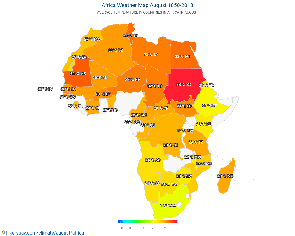 Africa - Average temperature in Africa over the years. Average Weather in August.