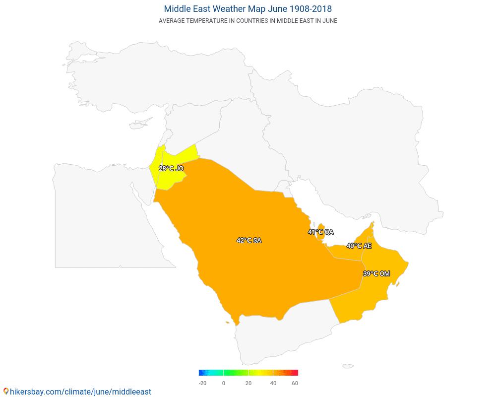 Mellanöstern - Medeltemperaturen i Mellanöstern under åren. Genomsnittliga vädret i Juni.