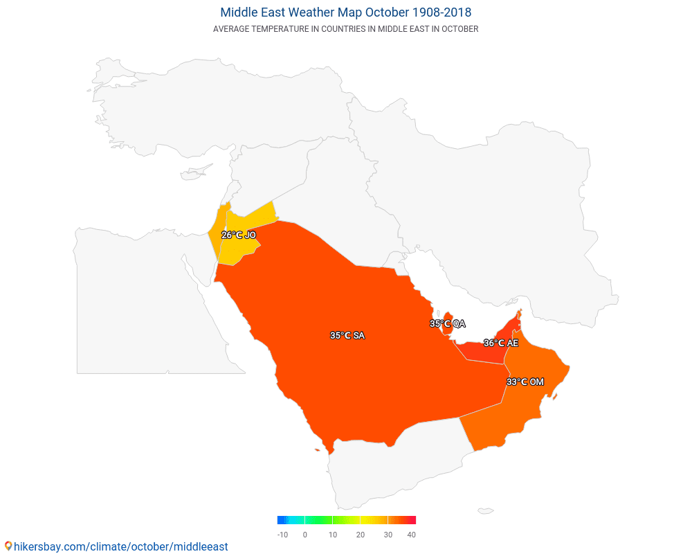 Middle East - Average temperature in Middle East over the years. Average Weather in October.