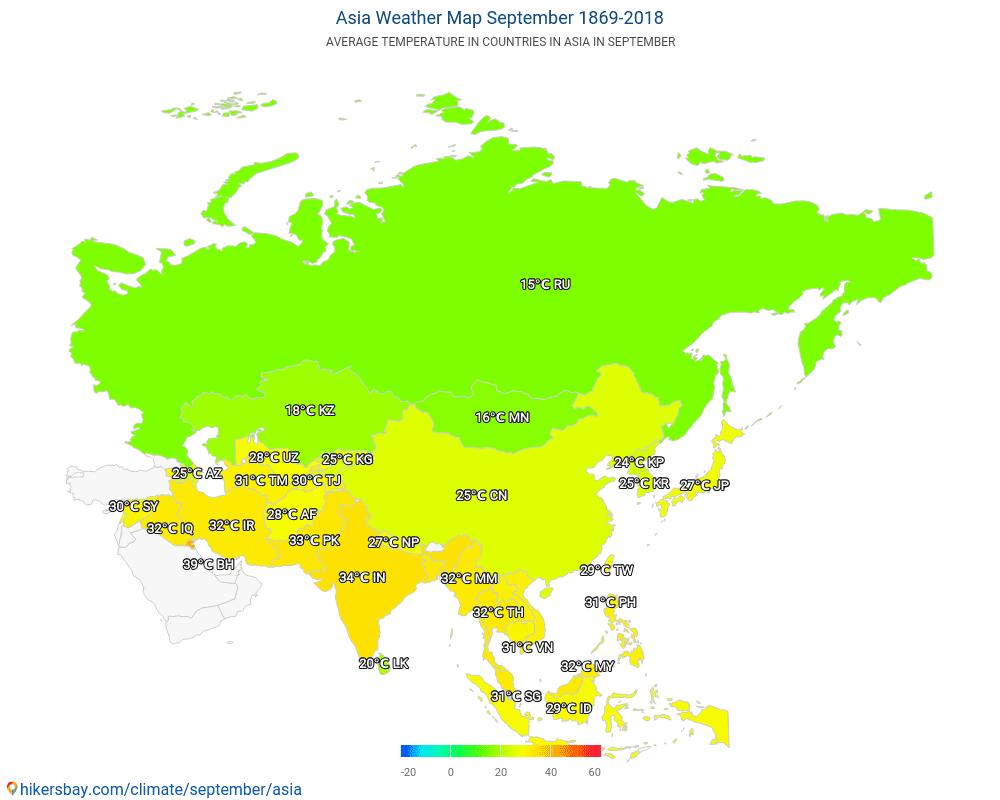 Asia - Average temperature in Asia over the years. Average Weather in September.