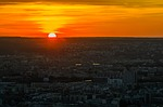 sunset, paris, city