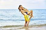 bikini, couple, in love
