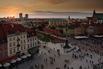 warsaw, the old town, sunset