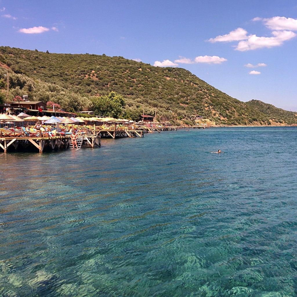 Image of Assos. life blue sea vacation sky holiday green beach nature water port swim turkey landscape turquoise assos behramkale