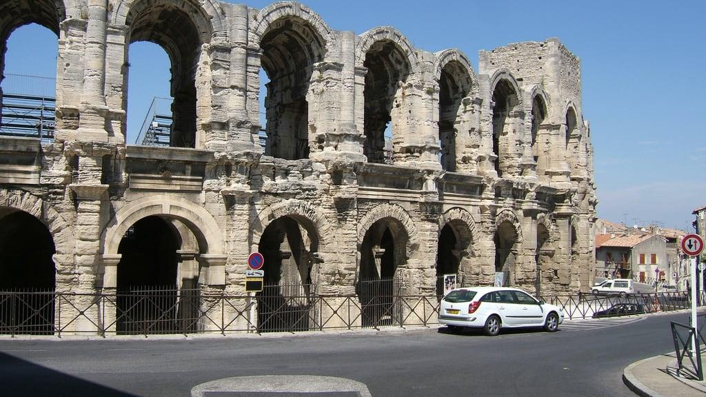Image of Arles Amphitheatre. 2006 amphitheatre arch arles bullring column france holiday pleiades:depicts=148217 roman ruin summer