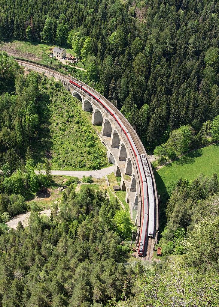 Image of Semmering railway near Semmering. forest landscape austria track railway sbahn taurus bahn semmering obb rinne viadukt kalte railjet kalterinne