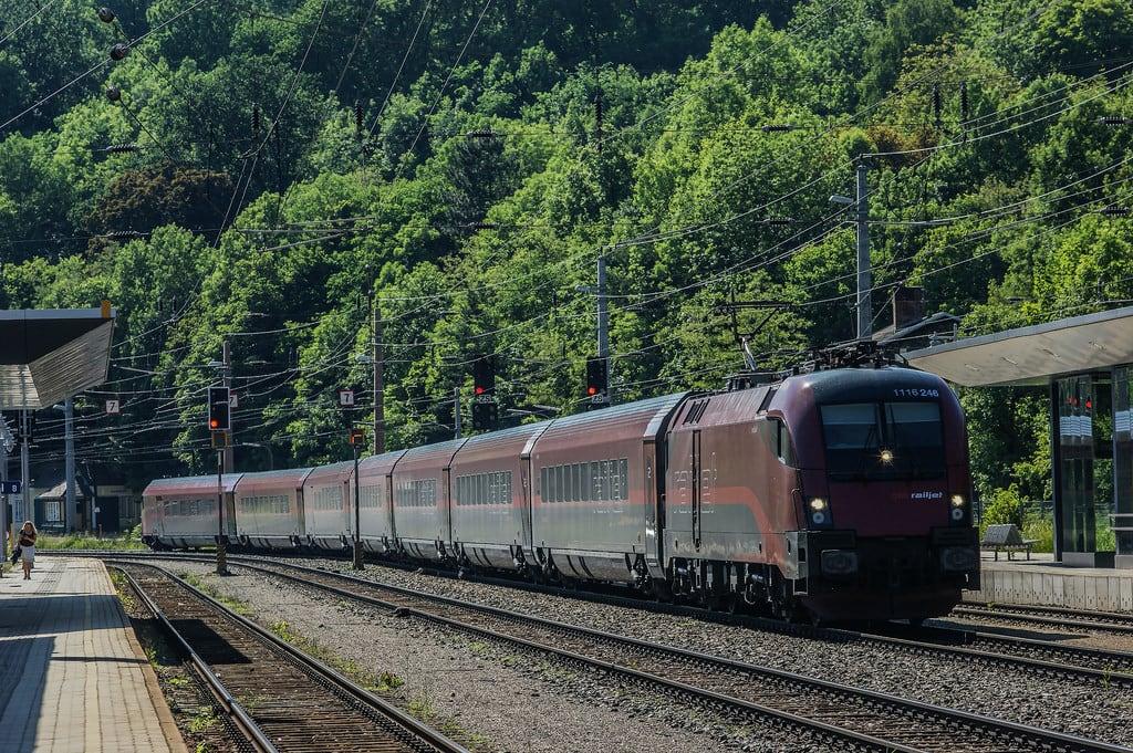 Image of Semmering railway near Semmering. railjet öbb taurus locomotive train semmering austria