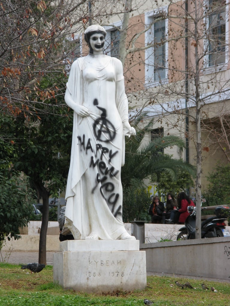 Image of Kyveli. statue rally hellas athens greece 100views damage riots 50views anarchists ελλάδα αθήνα griots ελλαδα άγαλμα αναρχικοί κυβέλη ταραχέσ greekriots επεισόδια ζημιέσ σπασμένα dvdphotos11 address:city=athens address:country=greece
