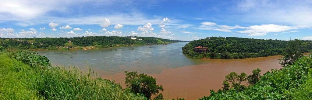 Image of Hito Tres Fronteras. dreiländereck paraguay brasilien argentinien puerto iguazu hito tres fronteras border triangle grenze drei iguacu wasserfälle falls