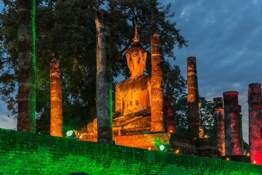 Image of Sukhothai Historical Park near Ban Na. lightshow night buddha sukhothai temple thailand unescoworldheritagesite watmahathat