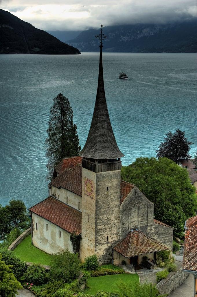 Image of Schloss Spiez. mountain lake alps castle church switzerland swiss schloss thunersee spiez schlosskirche