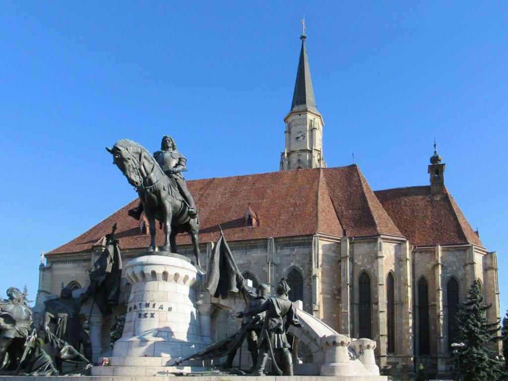Image of Statue of Matthias Corvinus. romania clujnapoca cluj