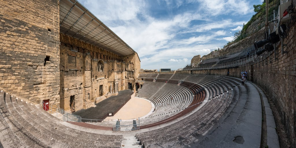 Image of Roman theatre. europe france hugin orange paca panorama provencealpescôtedazur romeantique vaucluse architecture romain théâtreantiquedorange