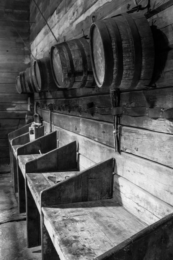 Image of Bryggen. bergen museum barrels