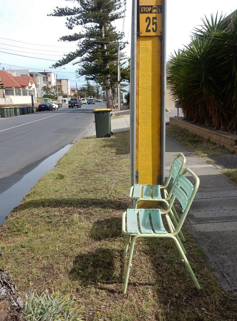 Image of Henley Beach near Henley Beach. henleybeach busstop chairs informal thoughtful