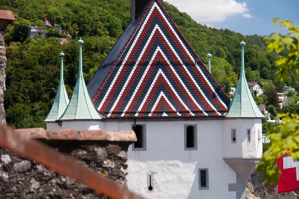 Image of Stadtturm. summer sun castle schweiz switzerland sommer sunny stadt che schloss turm baden sonnig sonne aargau burg festung stadtturm badenag fpm1979 cityofbadenag sunyweather